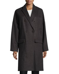 Brunello Cucinelli Long Cashmere Wool Coat Gray Brown