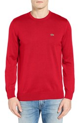 Lacoste Men's Jersey Crewneck Sweater Bright Cherry Red