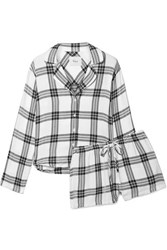 Rails Checked Flannel Pajama Set White