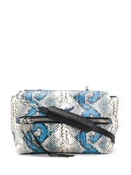 Zadig And Voltaire Twin's Snakeskin Effect Tote Bag Blue