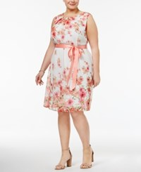 Connected Plus Size Belted Floral Print Dress Coral Multi
