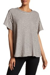Pleione Stripe Knit Tee Brown
