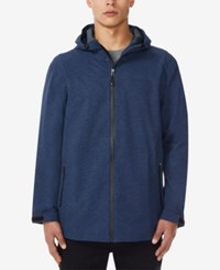 32 Degrees Storm Tech Full Zip Hooded Rain Jacket Indigo Melange