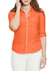 Lauren Ralph Lauren Plus Elizabeth Cotton Pique Button Front Shirt Orange