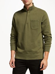 John Lewis And Co. Patch Pocket Funnel Neck Sweatshirt Green