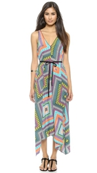 Twelfth St. By Cynthia Vincent Hanky Zip Front Maxi Dress Riviera Scarf