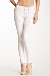 Black Orchid Mid Rise Printed Skinny Jean White