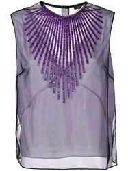 Marc Jacobs Tulle Embellished Tank Top Pink And Purple