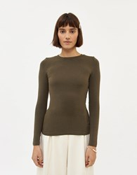 Farrow Clarice Long Sleeve T Shirt In Ash Olive Size Small Spandex