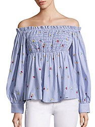 Suno Smocked Cotton Off The Shoulder Top Striped