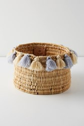 Anthropologie Tasseled Basket Grey