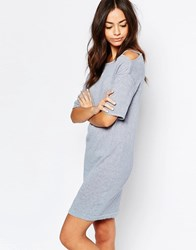 Esprit Cold Shoulder Marl Dress Gray Blue