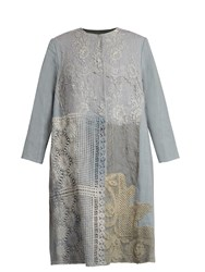 By Walid 19Th Century Lace Panelled Linen Coat Grey