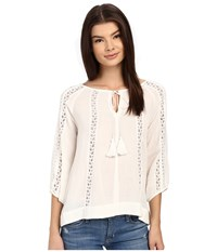 Brigitte Bailey Maren 3 4 Sleeve Top With Lace Detail Ivory Women's Clothing White