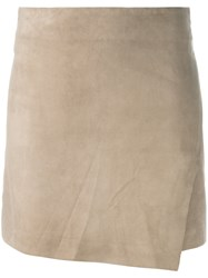 Eleventy Fitted Mini Skirt Women Suede Polyester 40 Brown
