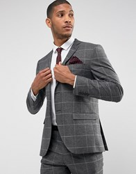 Selected Homme Slim Suit Jacket In Check With Stretch Lining Medium Grey Mel