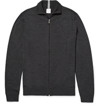 Paul Smith Melange Merino Wool Zip Up Cardigan Charcoal