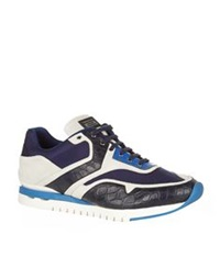 Stefano Ricci Olimpia Croc And Suede Sneaker Navy