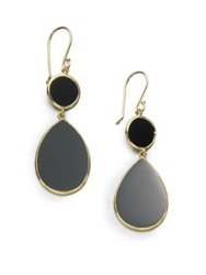Ippolita Polished Rock Candy Black Onyx And 18K Yellow Gold Snowman Drop Earrings Black Gold