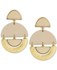 Lucky Brand Gold Tone And Leather Geo Drop Earrings
