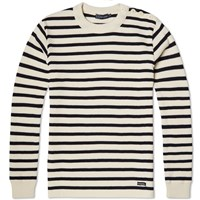 Armor Lux 2915 Fouesnant Raye Wool Striped Mariner Crew Knit White