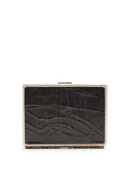Marc Marmel Cracked Leather And Metal Card Case Black