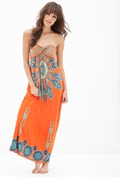 Forever 21 Strapless Printed Maxi Dress Orange Mint