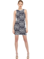 Vicedomini Lace And Viscose Knit Dress Navy White