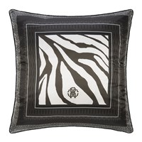 Roberto Cavalli Frame Zebrage Silk Cushion Grey
