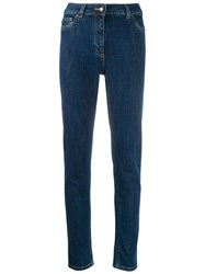 Moschino Teddy Embroidered Skinny Jeans Blue