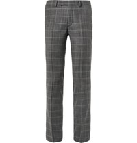 Sandro Grey Slim Fit Checked Virgin Wool Trousers Gray