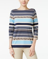 Charter Club Boat Neck Striped Top Only At Macy's Smoky Sky Combo