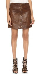 Veronica Beard Patrol Leather Miniskirt Brown
