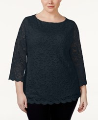 Charter Club Plus Size Three Quarter Sleeve Lace Blouse Only At Macy's Deepest Navy