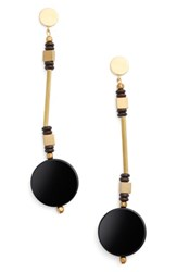 Ink And Alloy Women's Coco Drop Earrings Black Gold