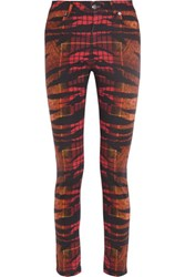 Mcq By Alexander Mcqueen Tiger Tartan Printed High Waisted Skinny Jeans Red