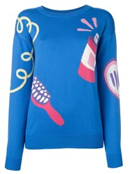 Jeremy Scott Crew Neck Sweater Blue