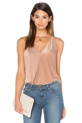 Pink Stitch Cascade Tank Brown