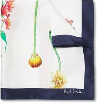 Paul Smith Printed Silk Pocket Square White