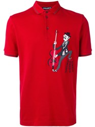 Dolce And Gabbana Musician Patch Polo Shirt Red