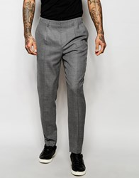 Asos Slim Smart Trousers With Pleats And Side Zip In Grey Gray