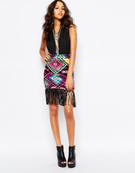 Jaded London Velvet Mini Skirt With Fringe Detail In Bright Aztec Print Multi