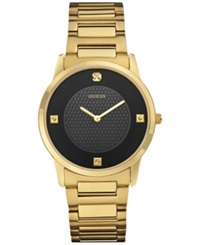 Guess Men's Diamond Accent Gold Tone Steel Bracelet Watch 40Mm U0428g1