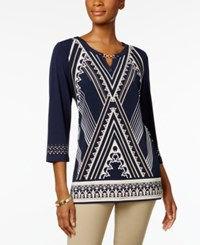 Jm Collection Printed Hardware Tunic Only At Macy's Neutral Athens Angle