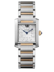 Cartier Tank Francaise Medium Diamond 18K Pink Gold And Stainless Steel Bracelet Watch Silver Rose Gold