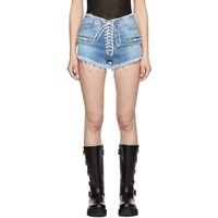 Unravel Indigo Lace Up Shorts