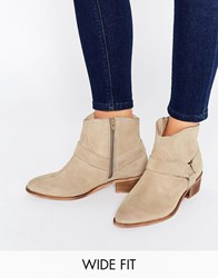 Asos Anya Wide Fit Suede Flat Boots Sand Beige