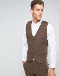 Asos Skinny Waistcoat In Brown With Military Styling Brown