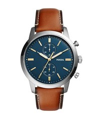 Fossil Grant Sport Stainless Steel And Leather Strap Chronograph Watch