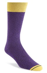 Men's Hook Albert 'Hatch' Colorblock Socks Purple Purple Yellow Black
